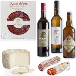 Pack Galicia O Pepiño con jamón de buey, vinos, cerveza artesana, queos y embutidos