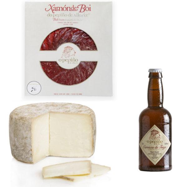 Pack Paicordeiro O Pepiño con cerveza artesana, queso gallego y jamón de buey ahumado