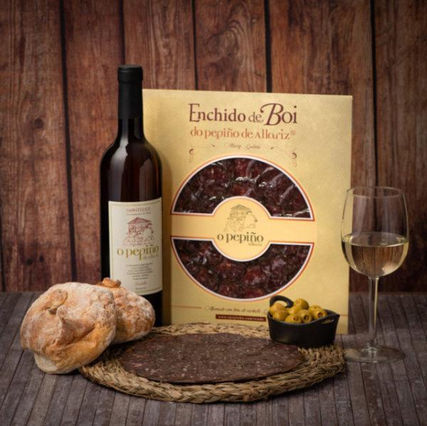 Enchido de boi O Pepiño e vinho godello O Pepiño detalhes, do melhor da Galiza