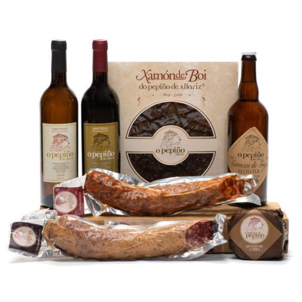 Pack Galicia O Pepiño productos con jamón de buey, vinos, cerveza artesana, queos y embutidos
