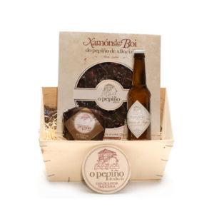 Pack Paicordeiro O Pepiño caja con cerveza artesana, queso gallego y jamón de buey ahumado