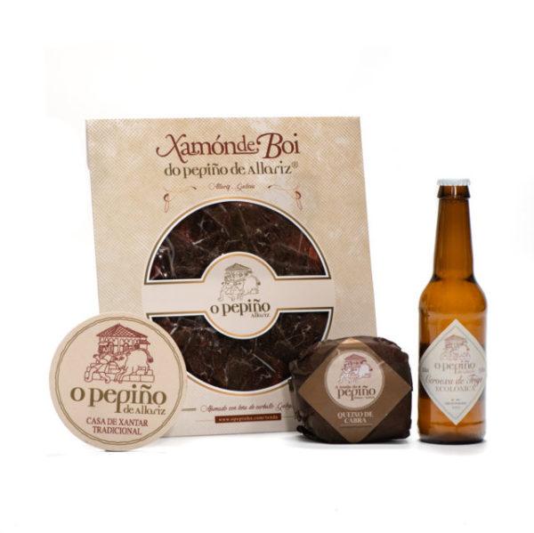 Pack Paicordeiro O Pepiño produtos com cerveja artesanal, queijo galego e presunto defumado de boi
